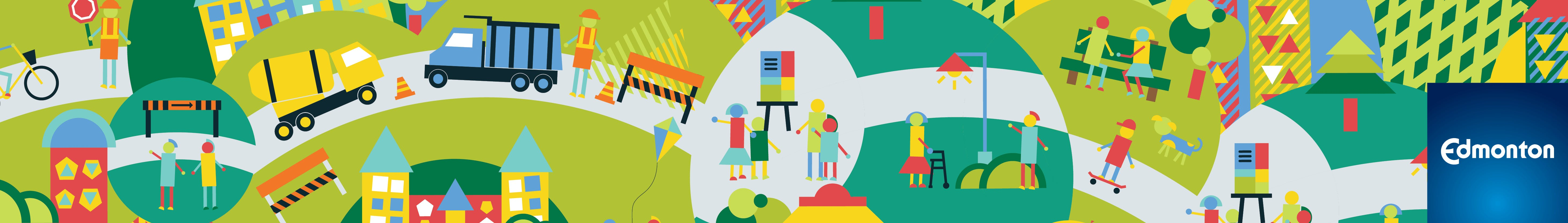 Banner image showing activities happening in a neighbourhood as part of the renewal process