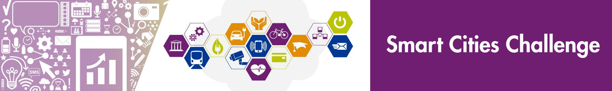 "Community engagement icons with City of Oshawa Smart Cities Challenge logo beside ""Smart Cities Challenge"""