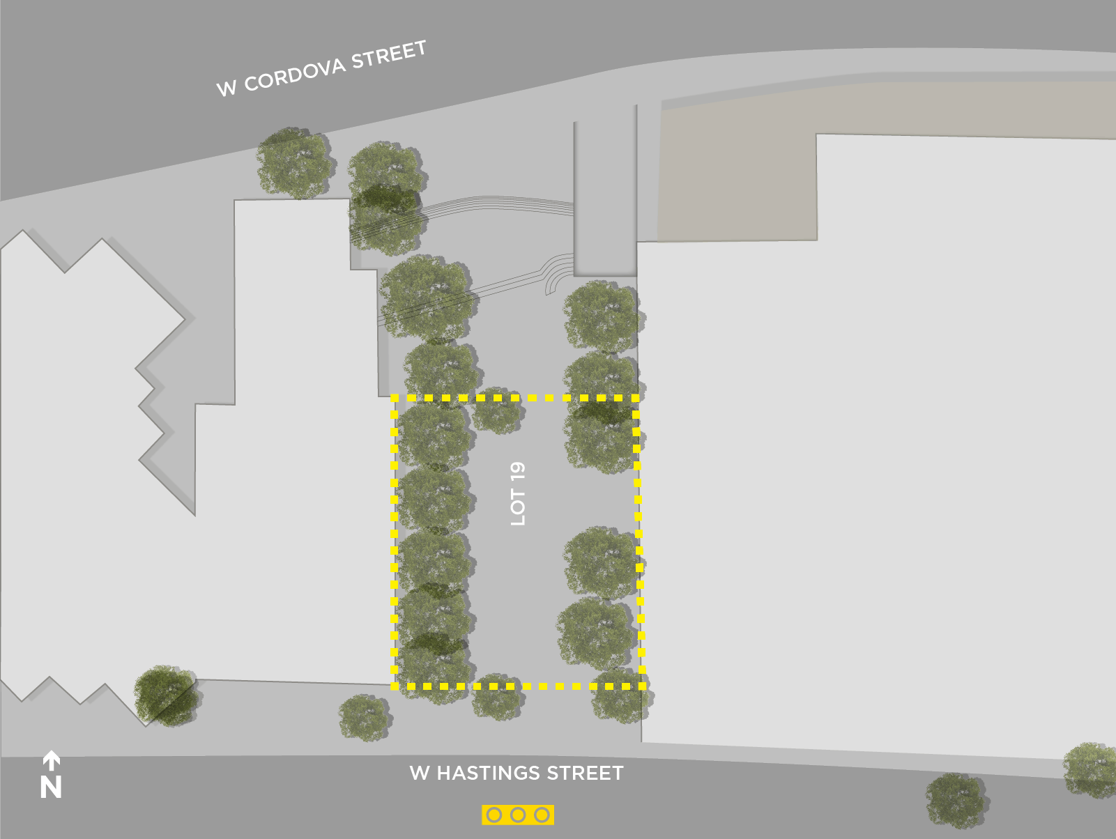Map of Lot 19 Plaza (Hornby St & Hastings St) designated drinking area.