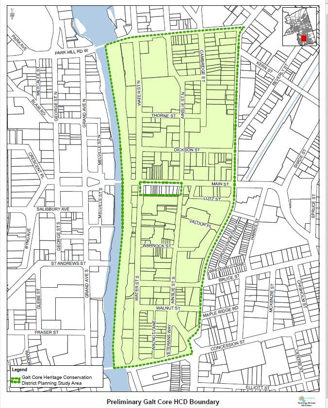 Galt Core Heritage Conservation District study area