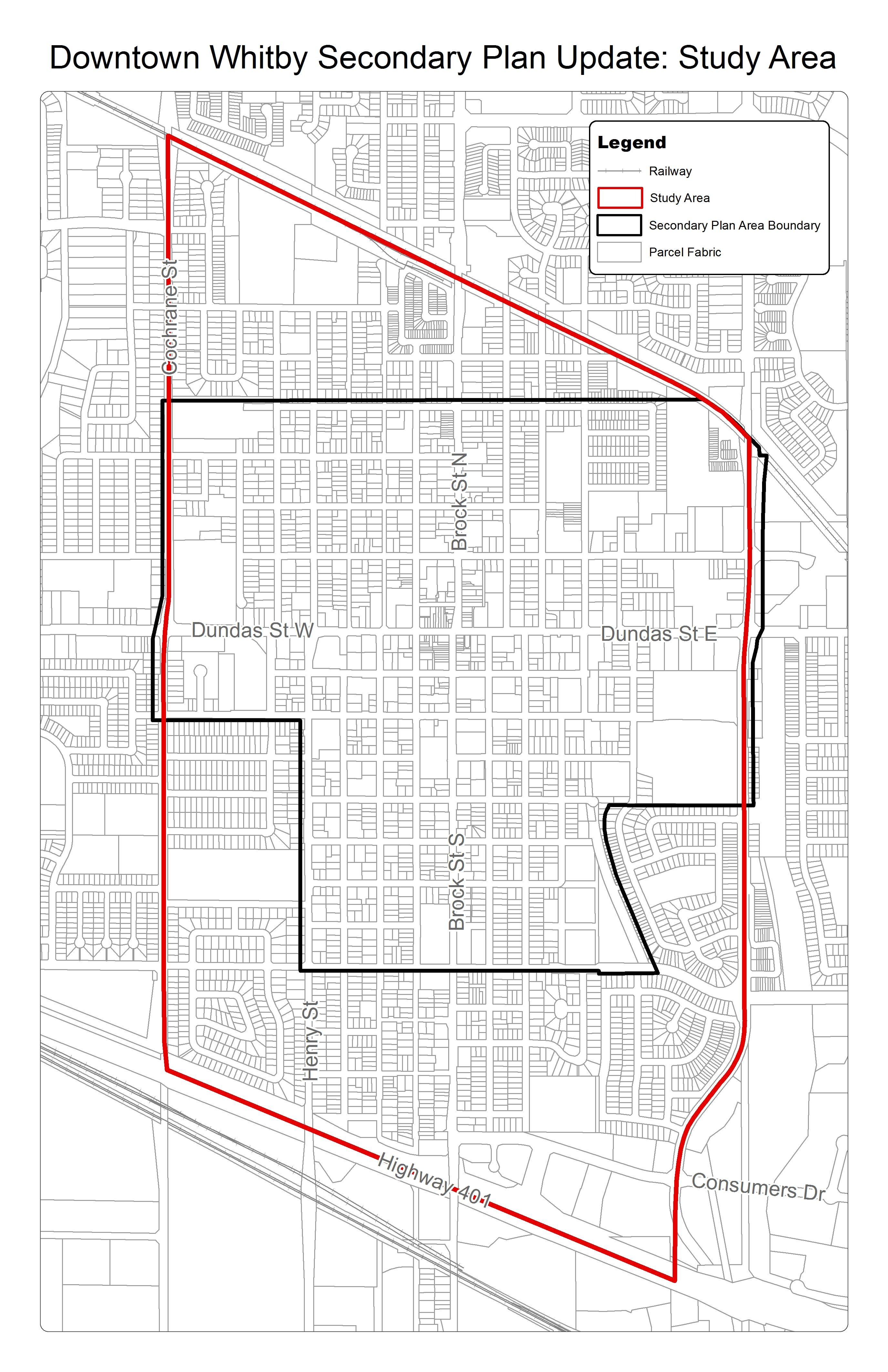 The study area for the Secondary Plan Update is bound by the Canadian Pacific Rail line to the north, Garden Street to the east, Highway 401 to the south and Cochrane Street to the west.