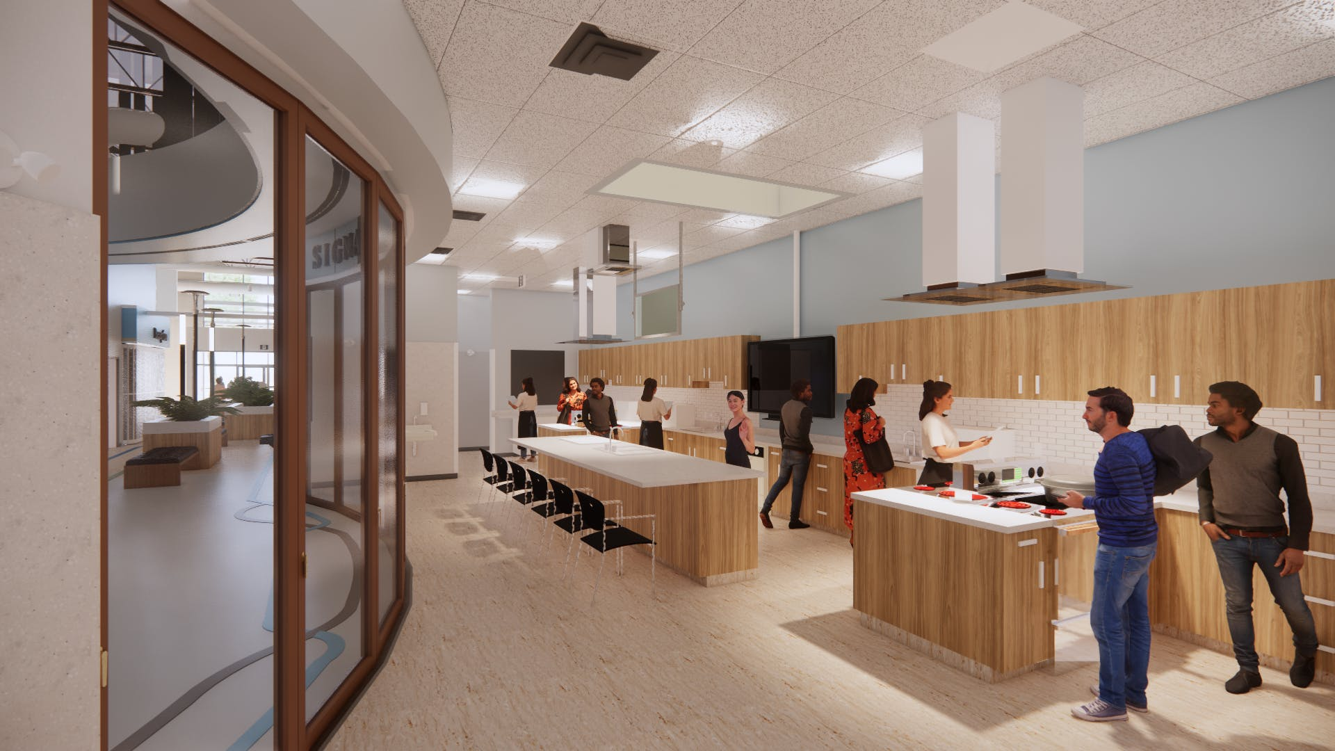 Architect's rendering of the building's test kitchen.