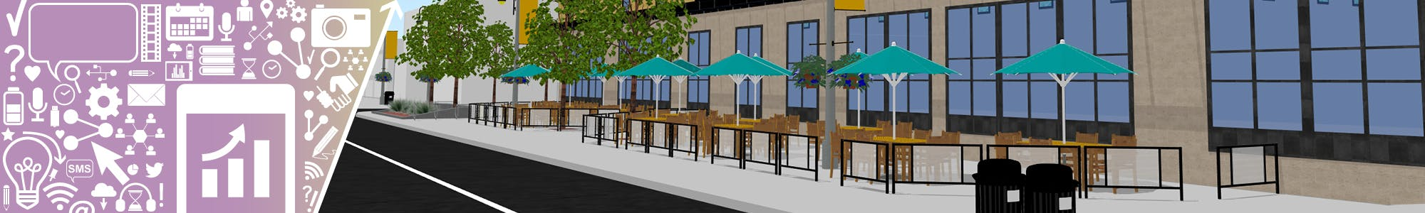 Engagement icons beside one of the design options for the King St. Pilot including waste receptacles, a patio, tables and umbrellas.