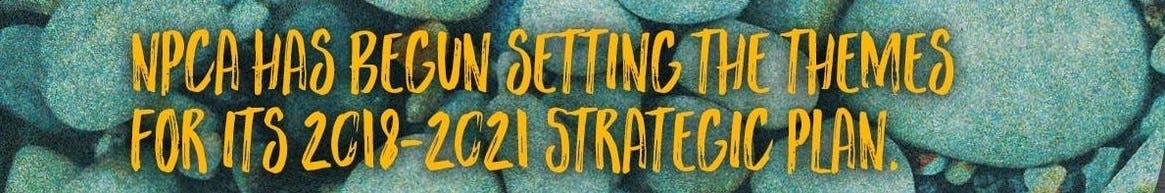 Banner image of pebbles for NPCA 2018 - 2021 Strategic Plan