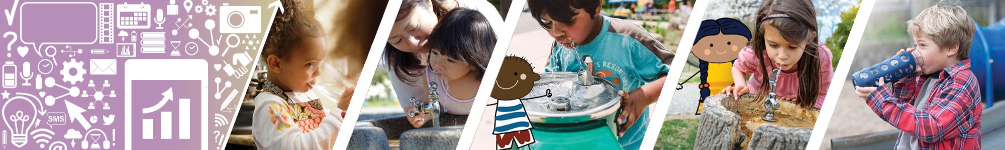 Healthy Kids Community Challenge - Water Does Wonders. Woman and child at a water fountain