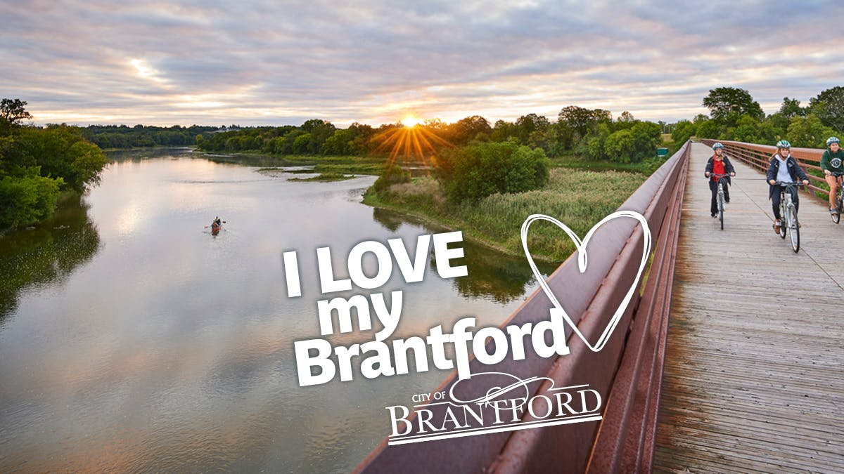 Cycling along the Grand River in Brantford