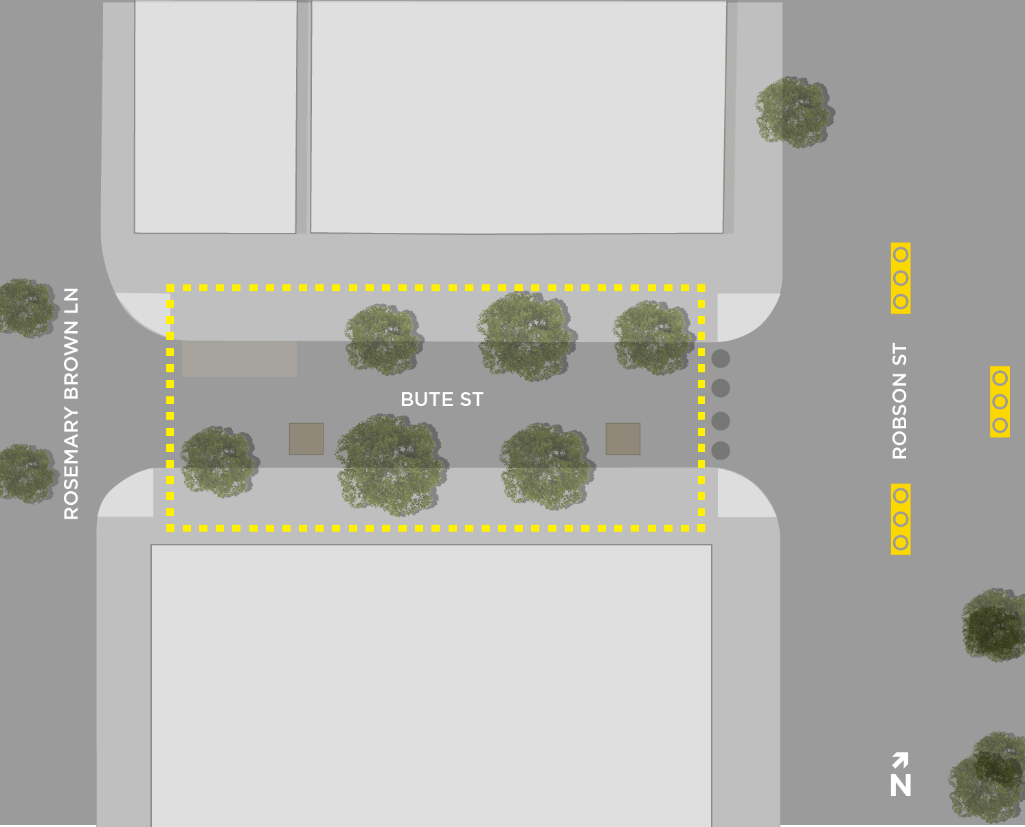 Map of Bute-Robson Plaza designated drinking area.