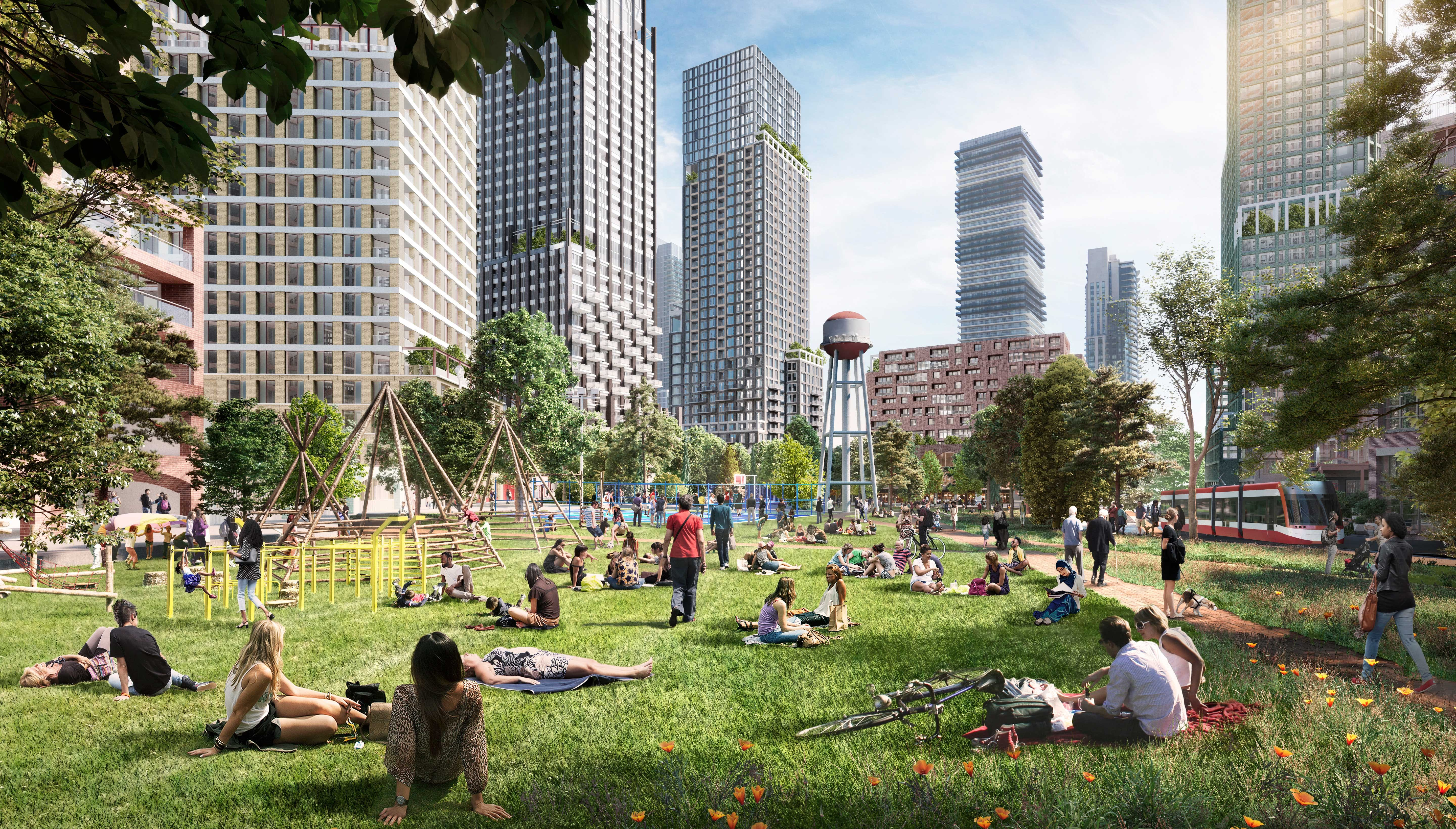 A rendering of the park at 2150 Lake Shore