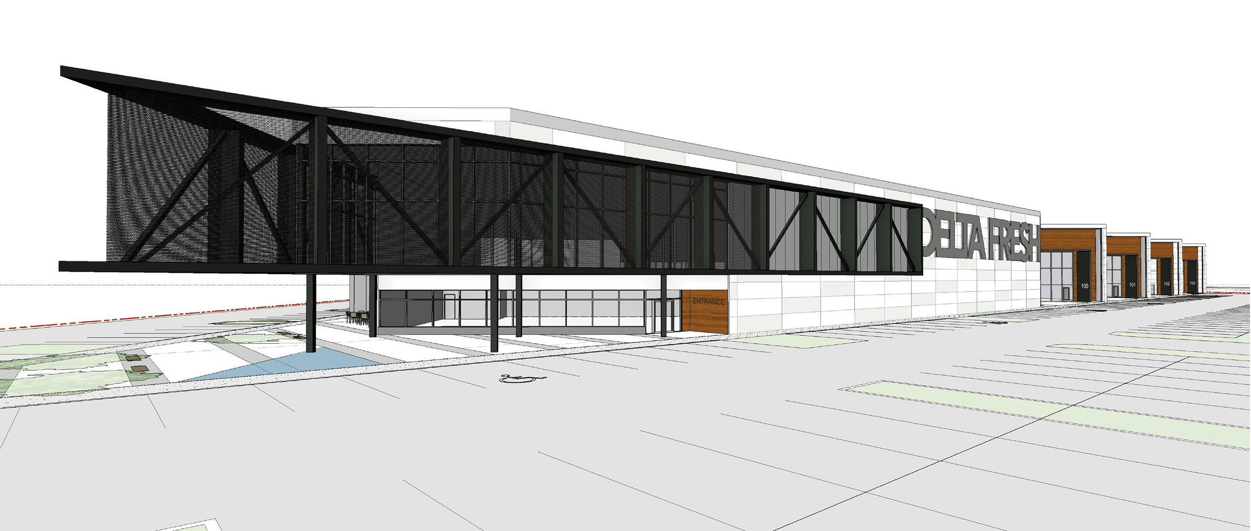 Rendering from 64 Avenue (East) - Food Storage Building