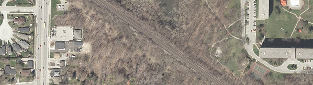 An overhead photo of Mud Creek at Wonderland Road.