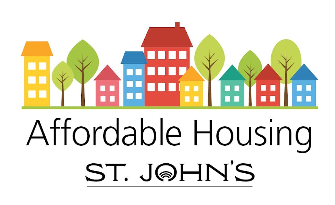 Graphic of colourful houses and the words Affordable Housing St. John's