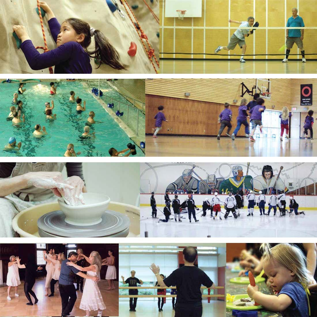 Collage of various community centre activities- pottery, rock climbing, indoor sports, swim class, ice hockey, dance lessons, yoga, children playing, etc.