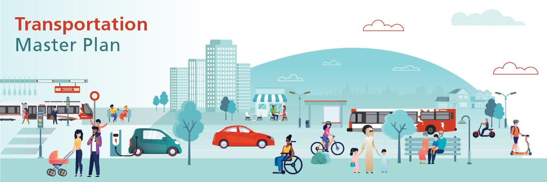 Logo for the Transportation Master Plan Update shows a circle with the cardinal arrows (east, west, north, south) and graphic representations of different modes of transportation: walking, cycling, light rail, car and bus.