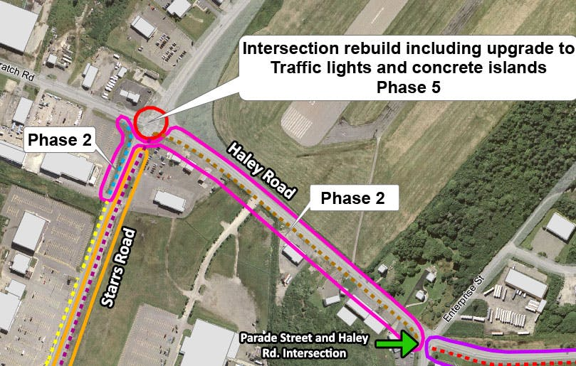 Map showing phase 2 with asphalt multi-use trail between Starrs Road and Parade Street on Haley Road.