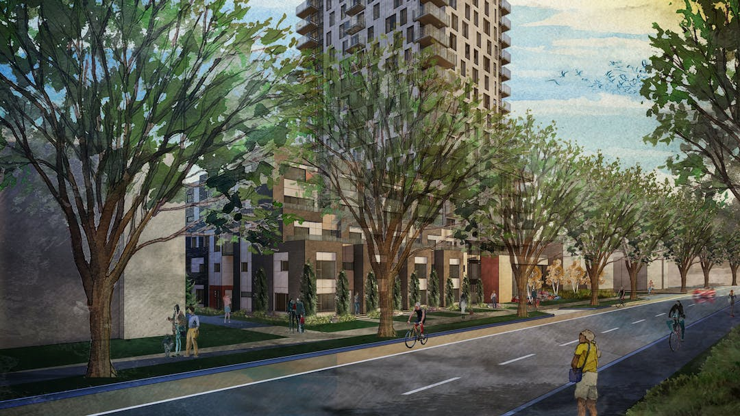 Illustration of mixed use housing from street view with trees.