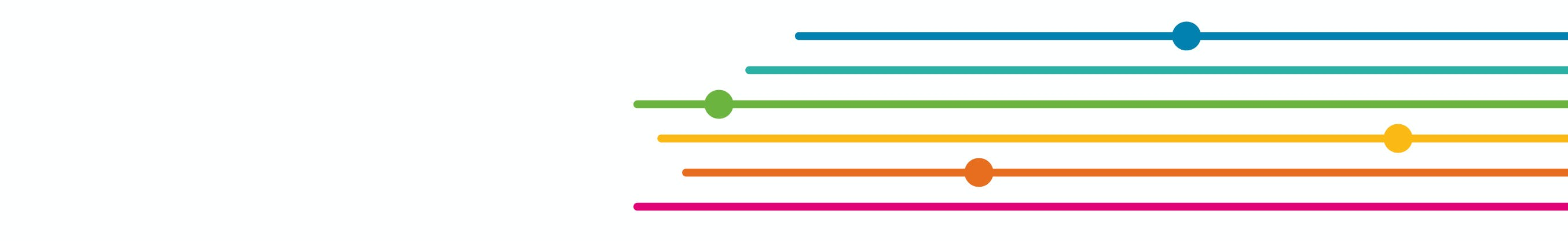 Six straight coloured lines coming in from the right and ending at different positions along the line.  Most lines show a circle node at a point along the line reminiscent of a bust stop along a bus route