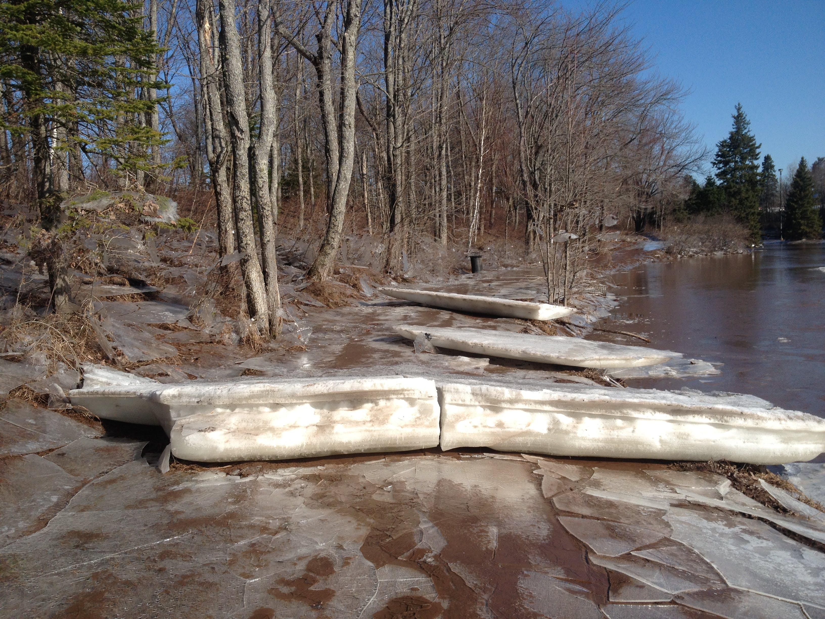 ice blocks over the trail