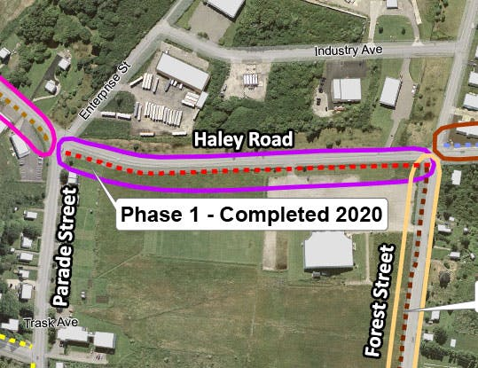 Map showing completed section of trail on Haley Road.