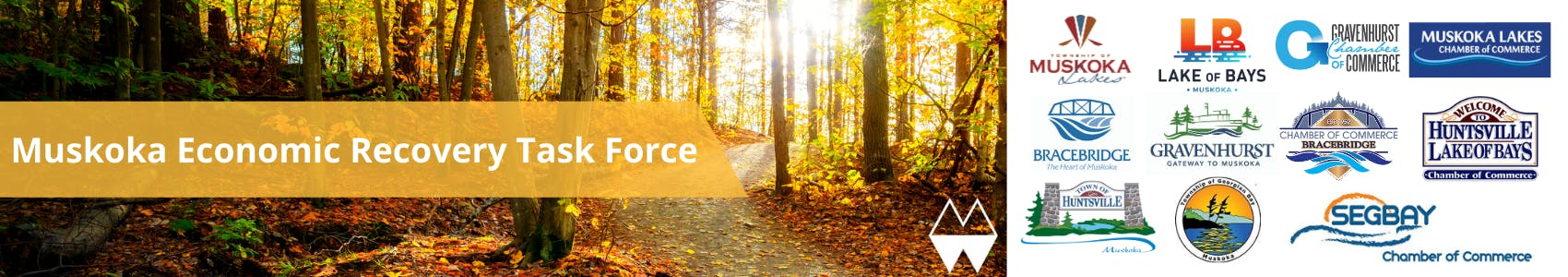 Muskoka Economic Recovery Task Force banner is placed on the left side of the image. There is a small pathway directly in the middle of a forested area in the fall season. A small, white, District logo is in the bottom right corner of the image.