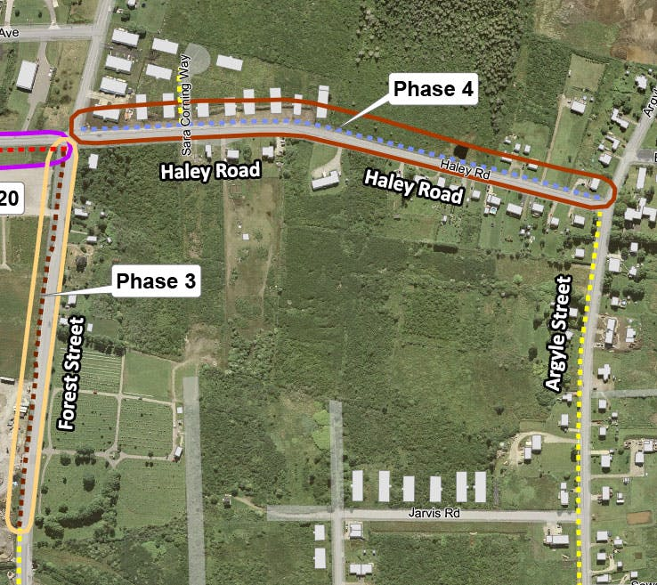 Map showing phase 4 will see asphalt multi-use trail between Forest Street and Argyle Street on Haley Road.