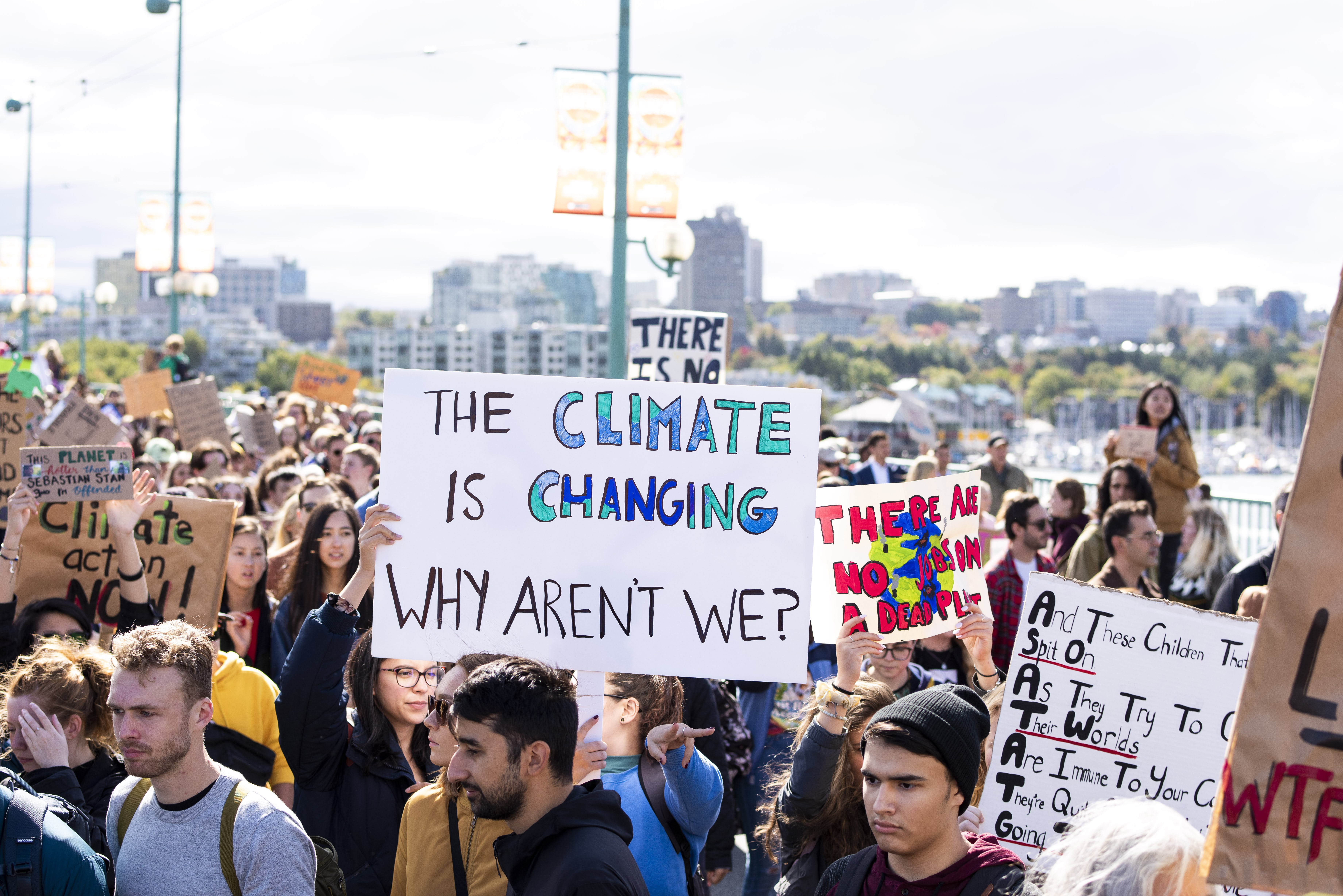 Thousands of people participate in the 2019 Climate Strike across the Cambie Bridge, Vancouver.