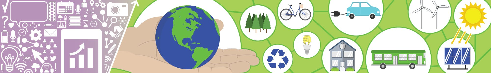 Engagement icons beside images representing potential greenhouse gas reduction tactics.