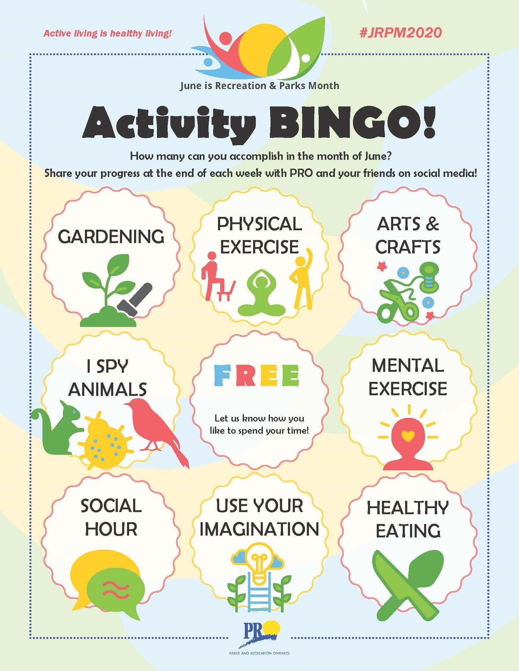 June Activity BINGO