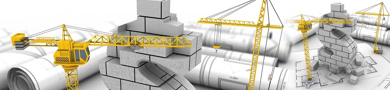 Blueprints and a model building in the shape of a dollar sign with construction cranes around