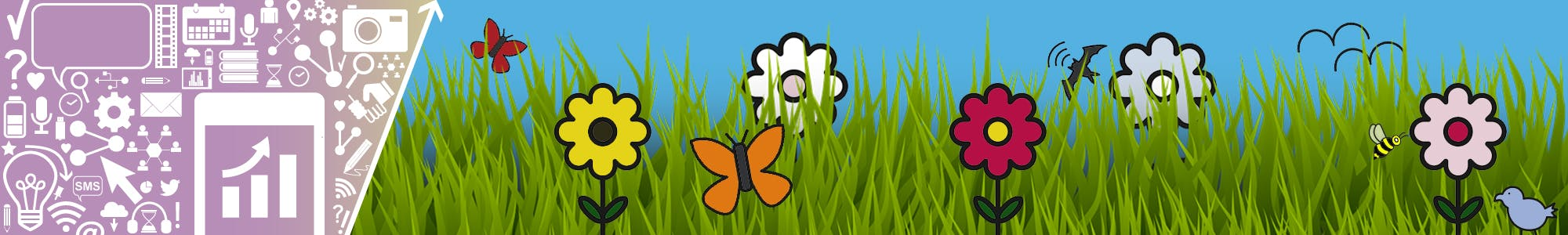 Engagement icons beside images of flowers and pollinator species, such as butterflies, birds, bees and bats.