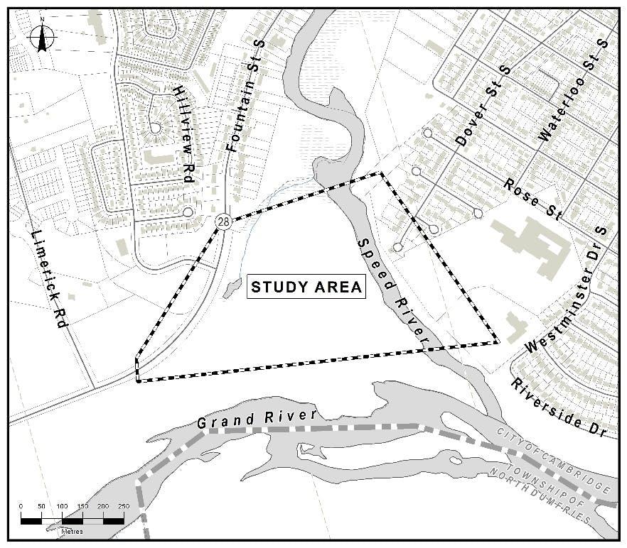 Map of Study Area for Blair-Preston Pedestrian Bridge