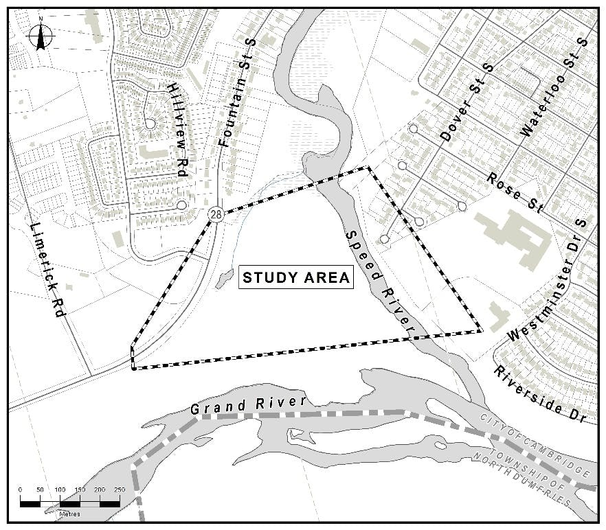 Map of Study Area for Blair-Preston Pedestrian Bridge