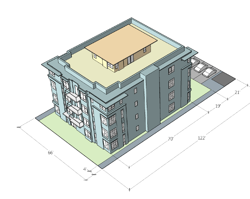 Example of 4 storey residential apartment