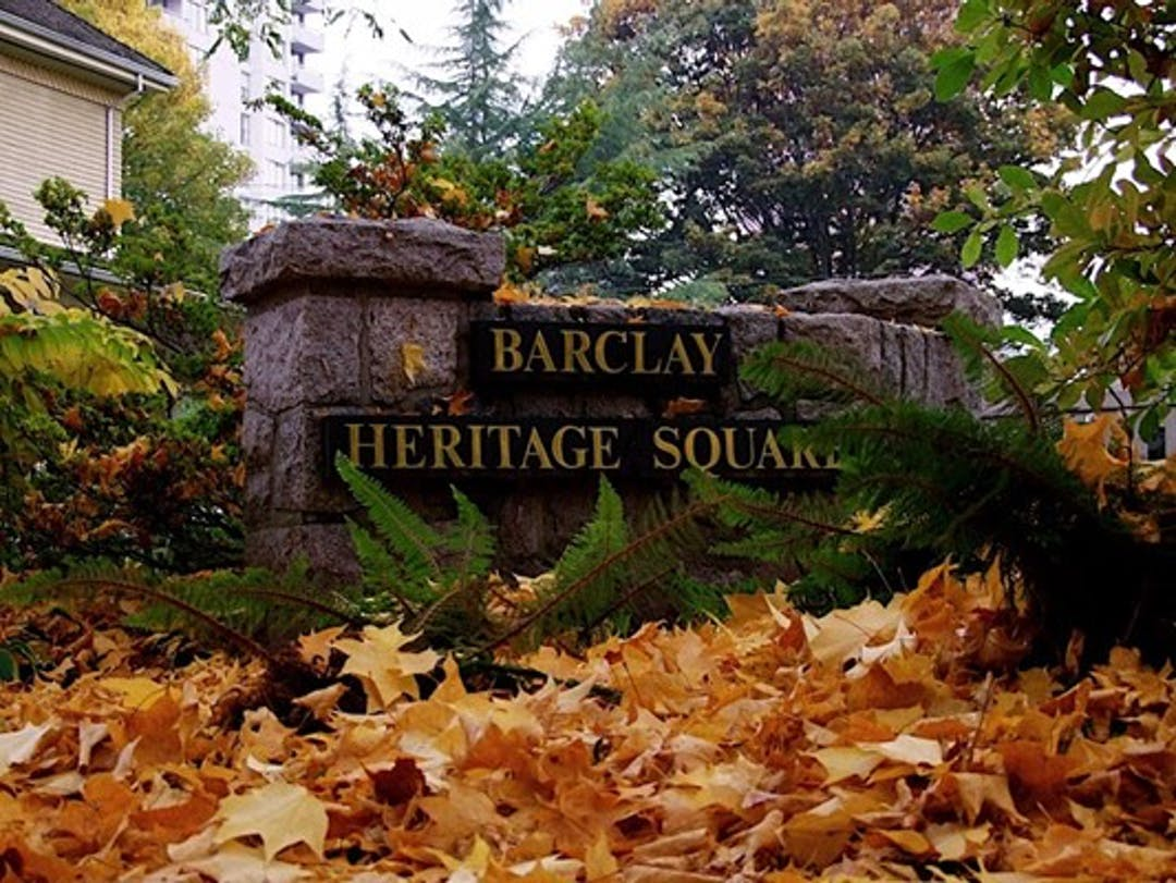 Park sign for Barclay Heritage Square