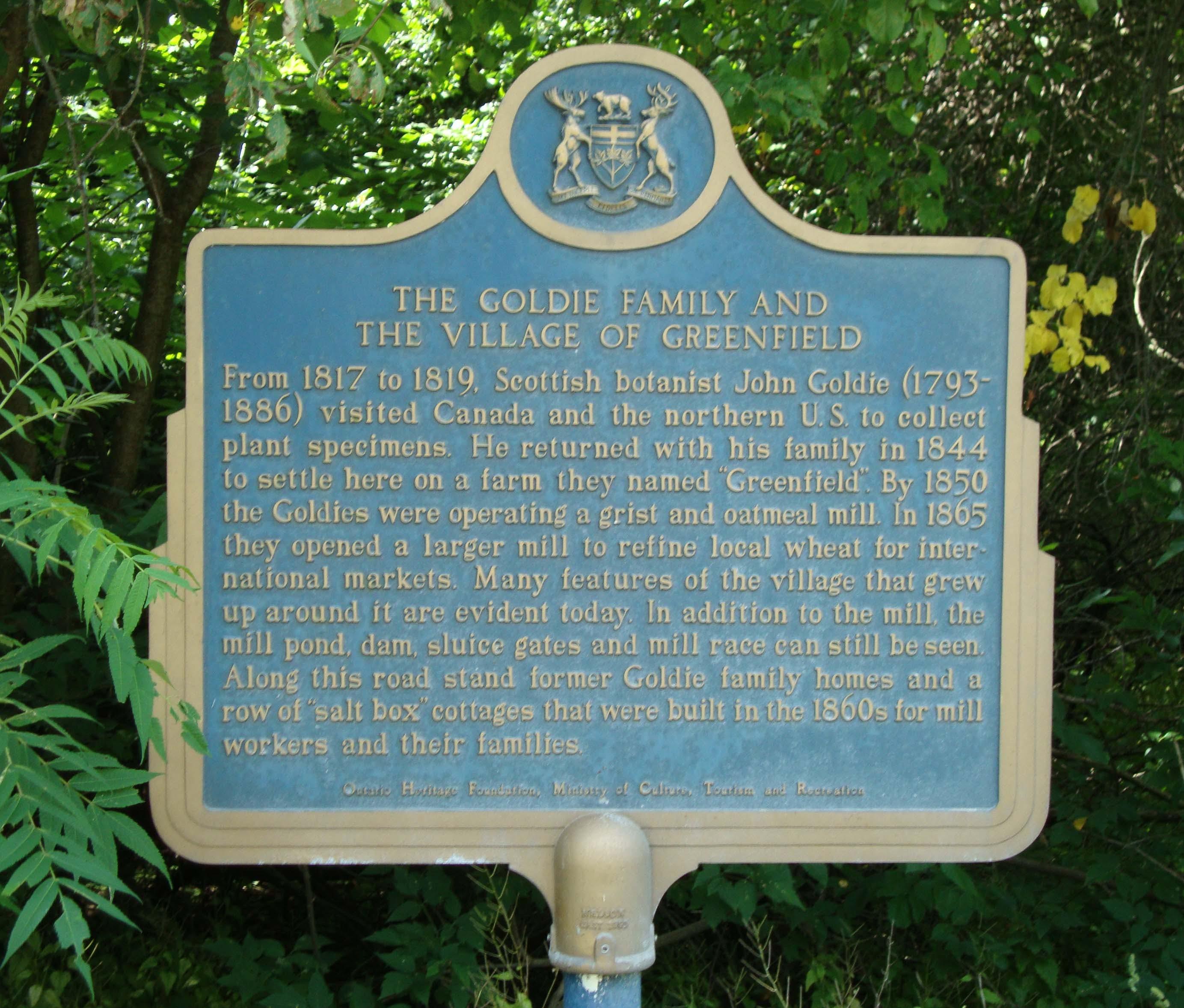 Greenfield Village Provincial Plaque