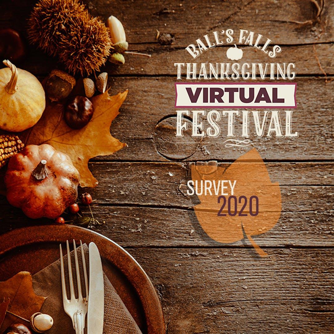 Photo of Virtual Ball's Falls Thanksgiving Festival logo and Survey 2020
