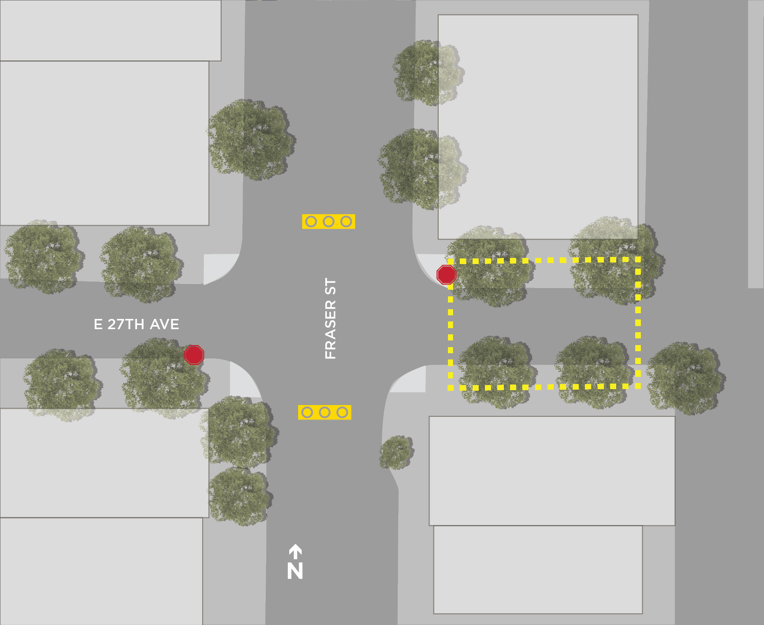 Map of Fraser & 27th Pop-Up Plaza designated drinking area.