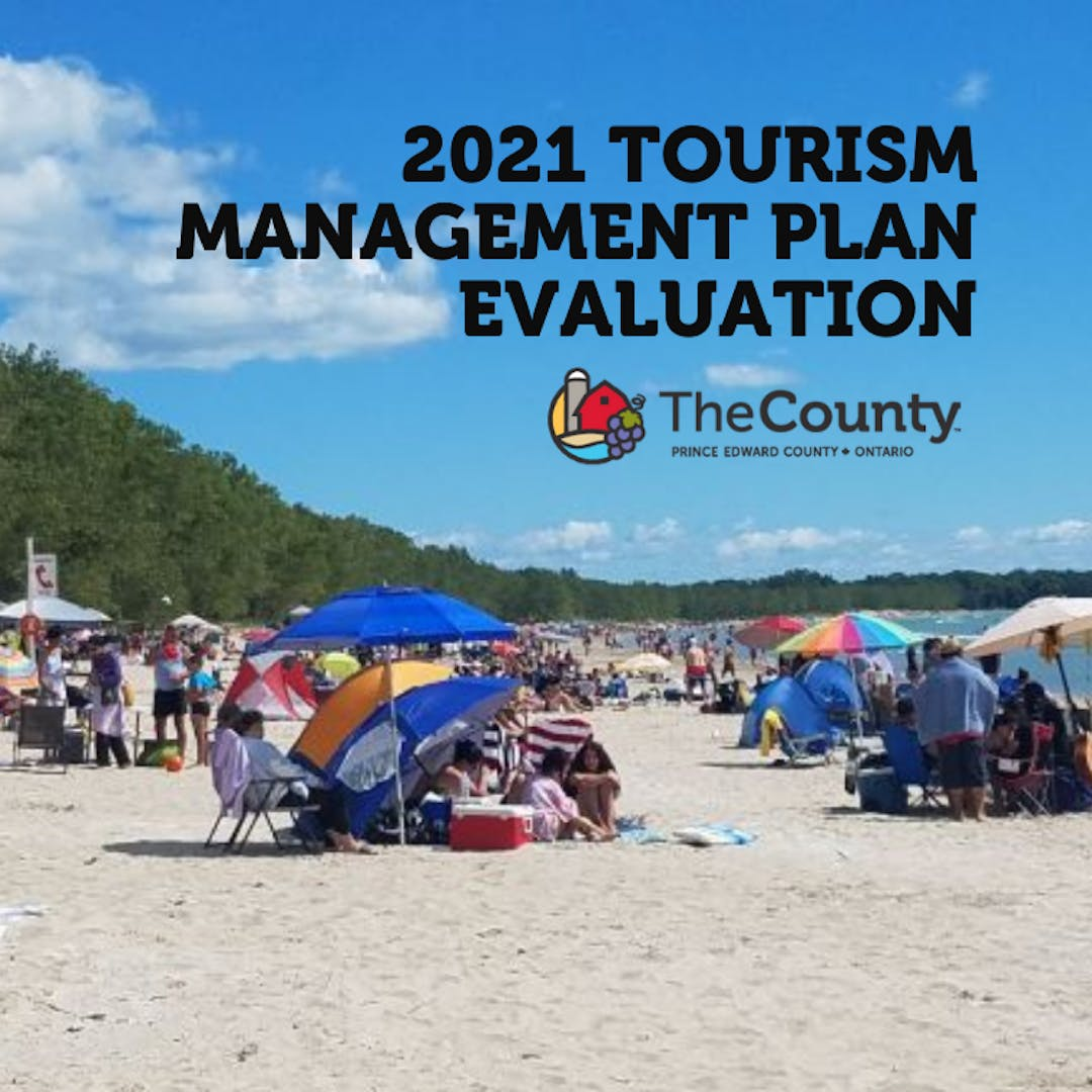 """Image of a crowded beach at Sandbanks Provincial Park with text on image that reads """"2021 Tourism Management Plan Evaluation"""""""