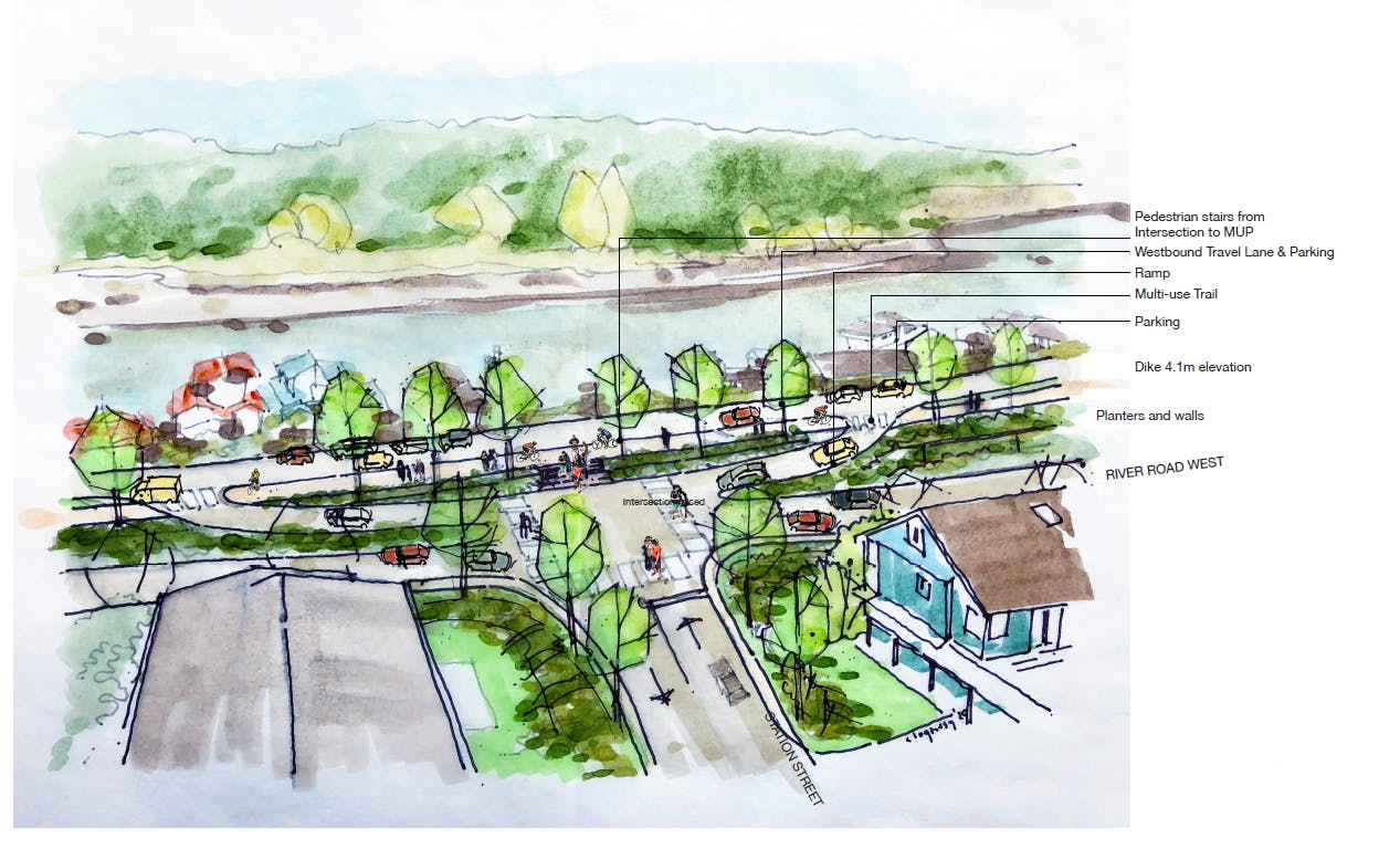Sketch of a Proposed Raised Intersection on River Road West