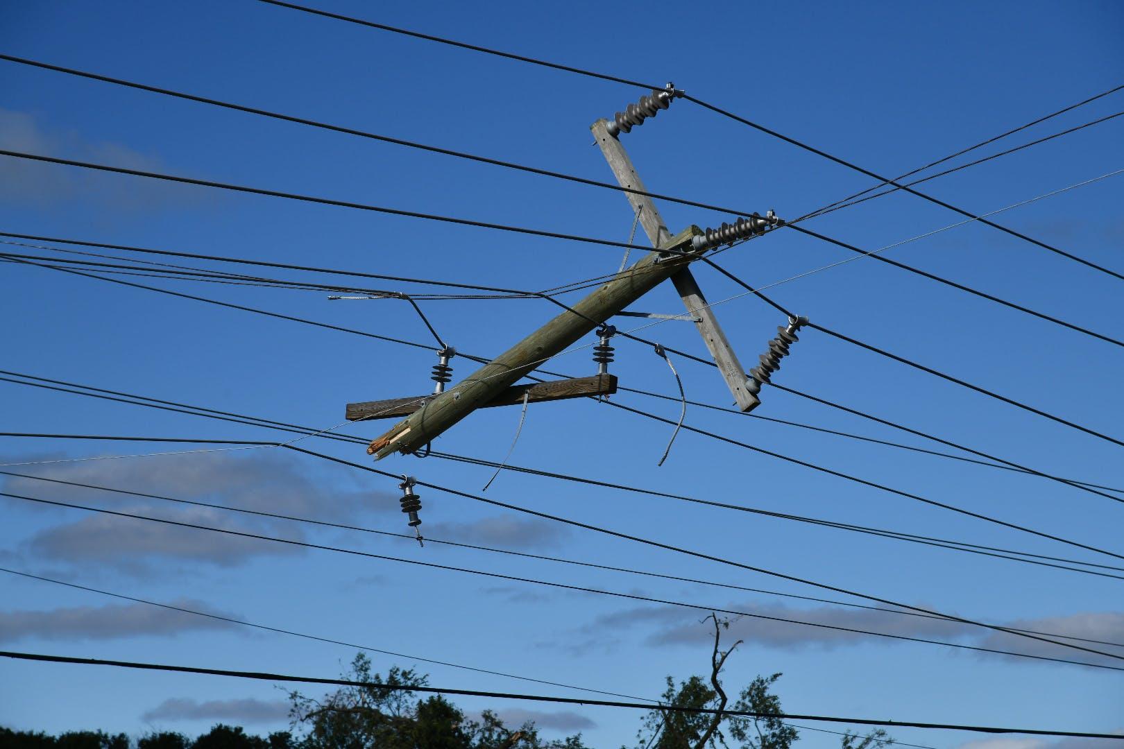 Utility posts damaged post tornado