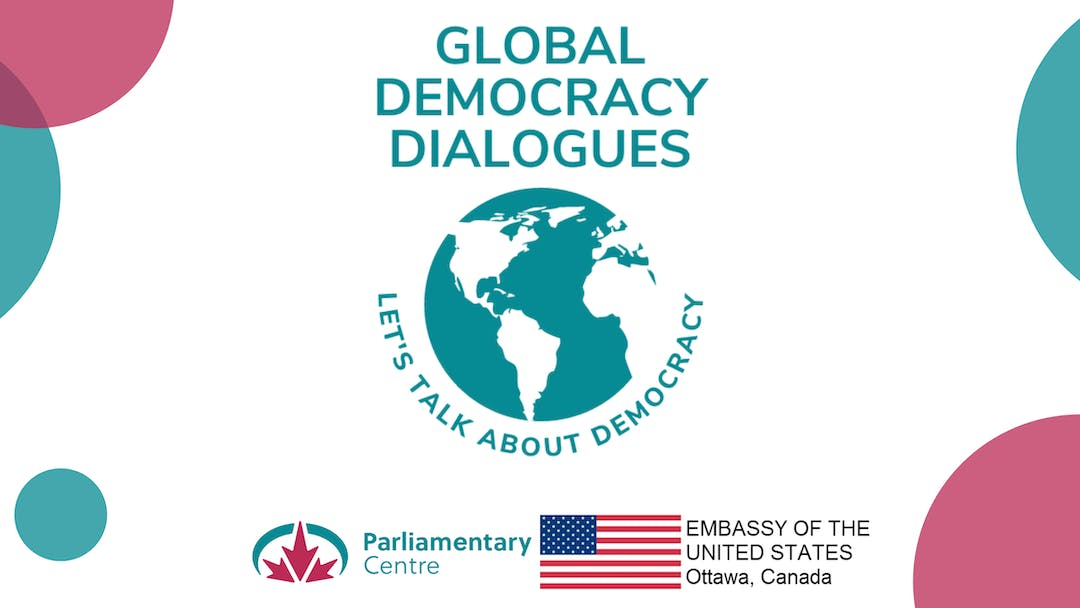 A banner displaying the logos of the Global Speaker Series as well as the Parliamentary Centre's.
