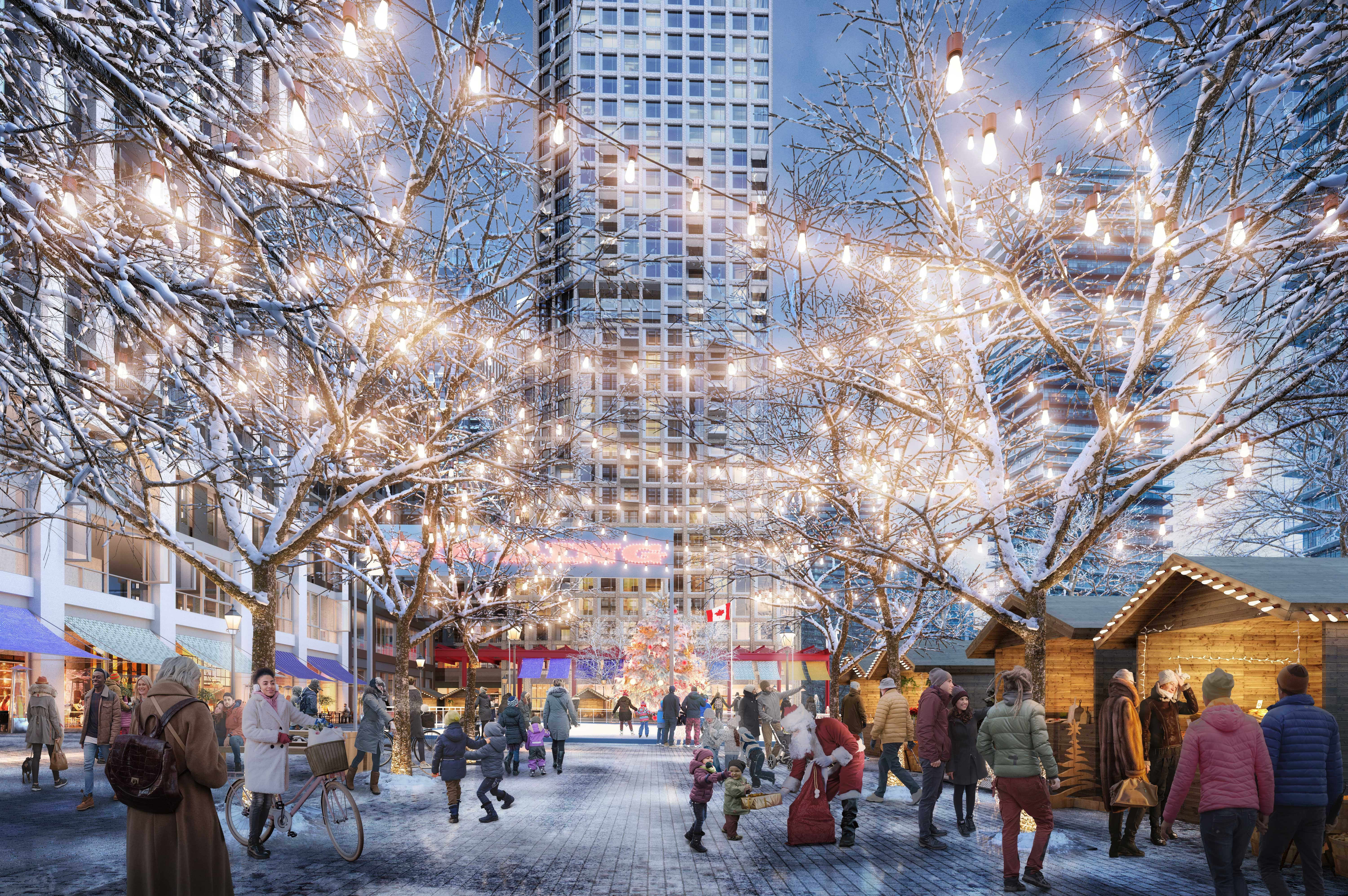 A rendering of Boulevard Square during winter at 2150 Lake Shore