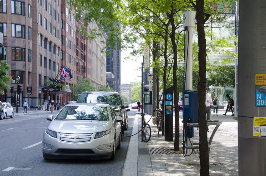 On-street charging station in Montreal