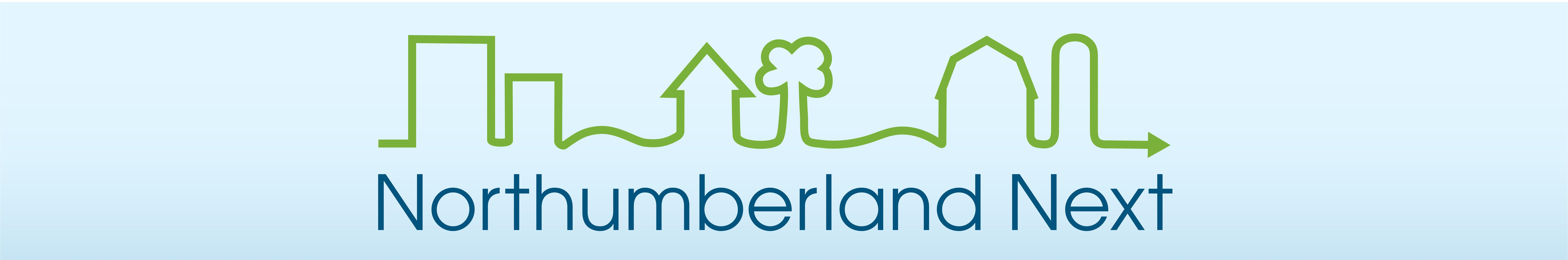 Northumberland Next logo with a line drawing of urban, rural and agriculture communities