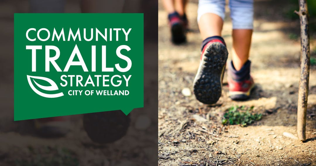 Stylized logo: text reads Community Trails Strategy, City of Welland