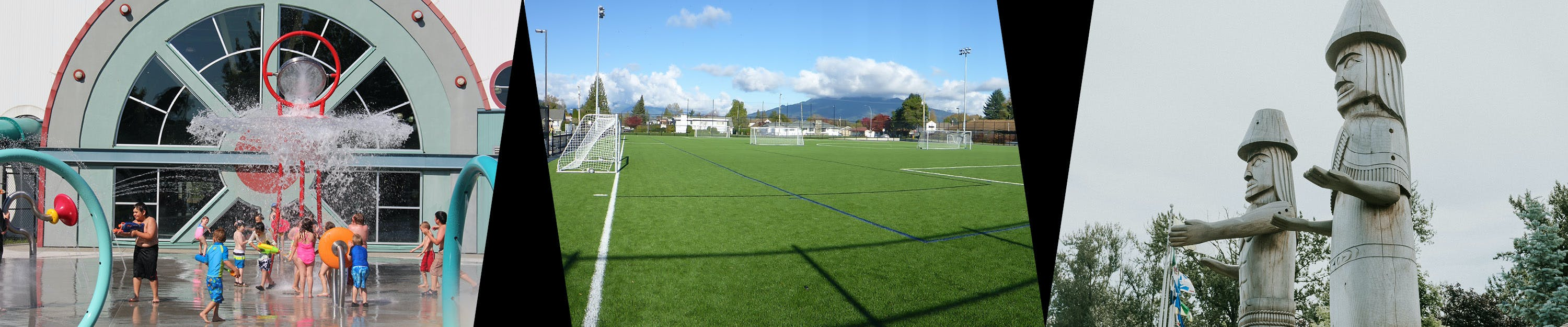 Kids playing at a spray park, an empty soccer field, Sto:lo welcome figure carvings