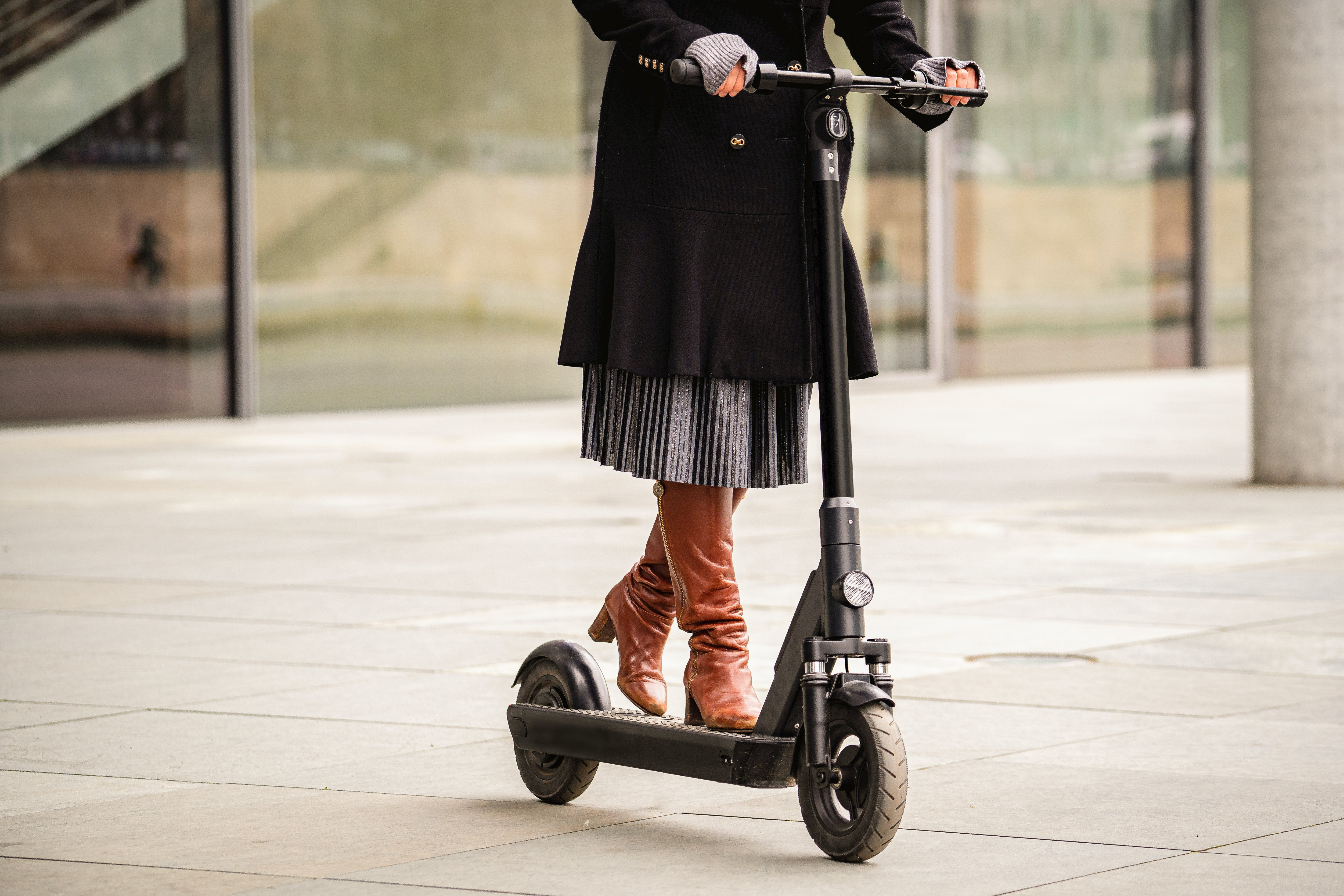 An example of an e-scooter powered by an electric motor.