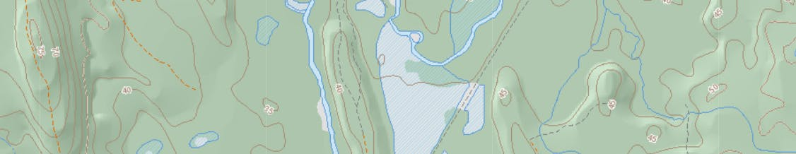 An example of the Nova Scotia 1:10,000 topographic database displaying wetlands, watercourses and waterbodies