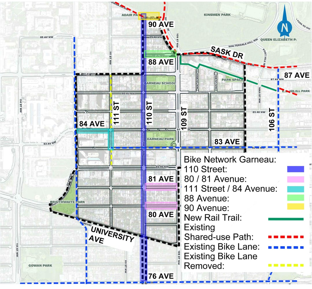 This is a map image of the Garneau neighbourhood and the Bike Plan for Garneau. It contains highlighted areas of existing and proposed bike plans. Proposed bike lanes are included along 110 Street, 111 Street, 84 Avenue and 88 Avenue.