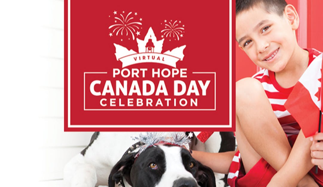Boy with dog and Canada Day logo
