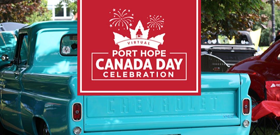 Blue car with Canada Day logo